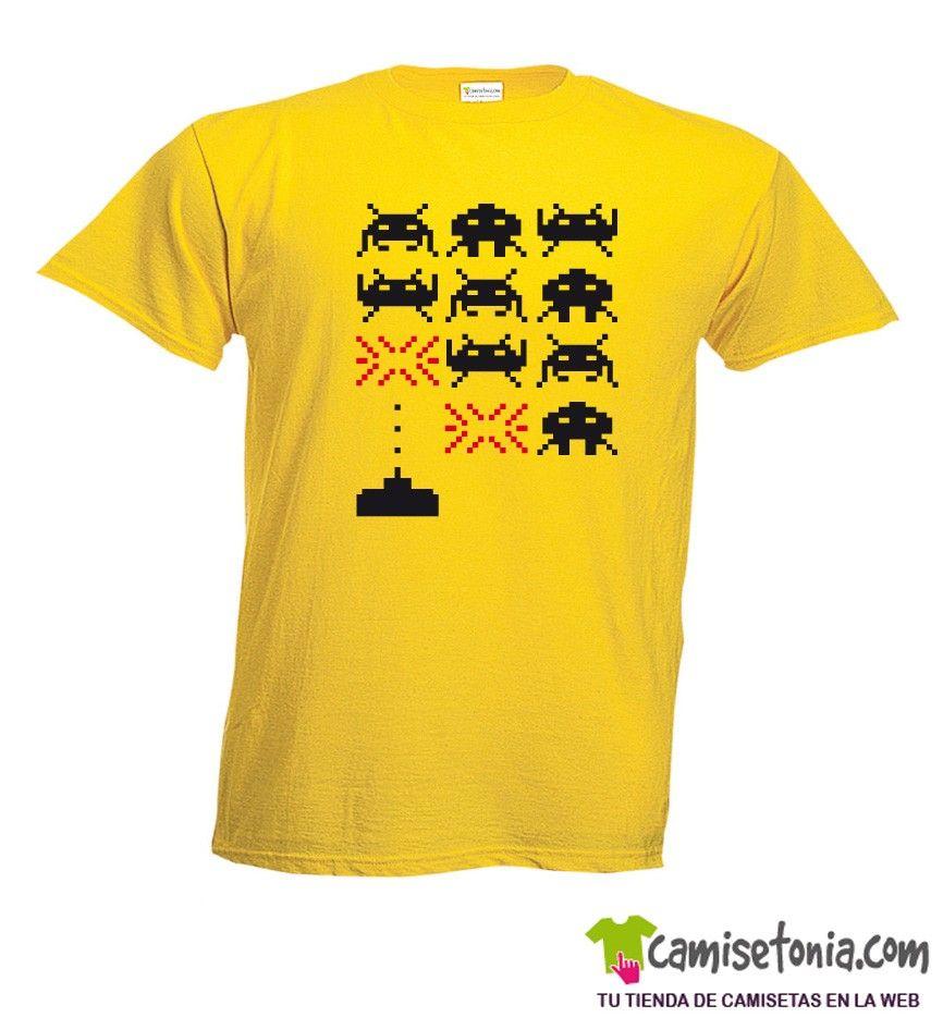 Camiseta Space Invaders Amarilla Hombre