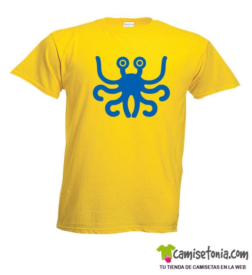 Camiseta Monstruo Espaguetti Volador Amarilla Hombre