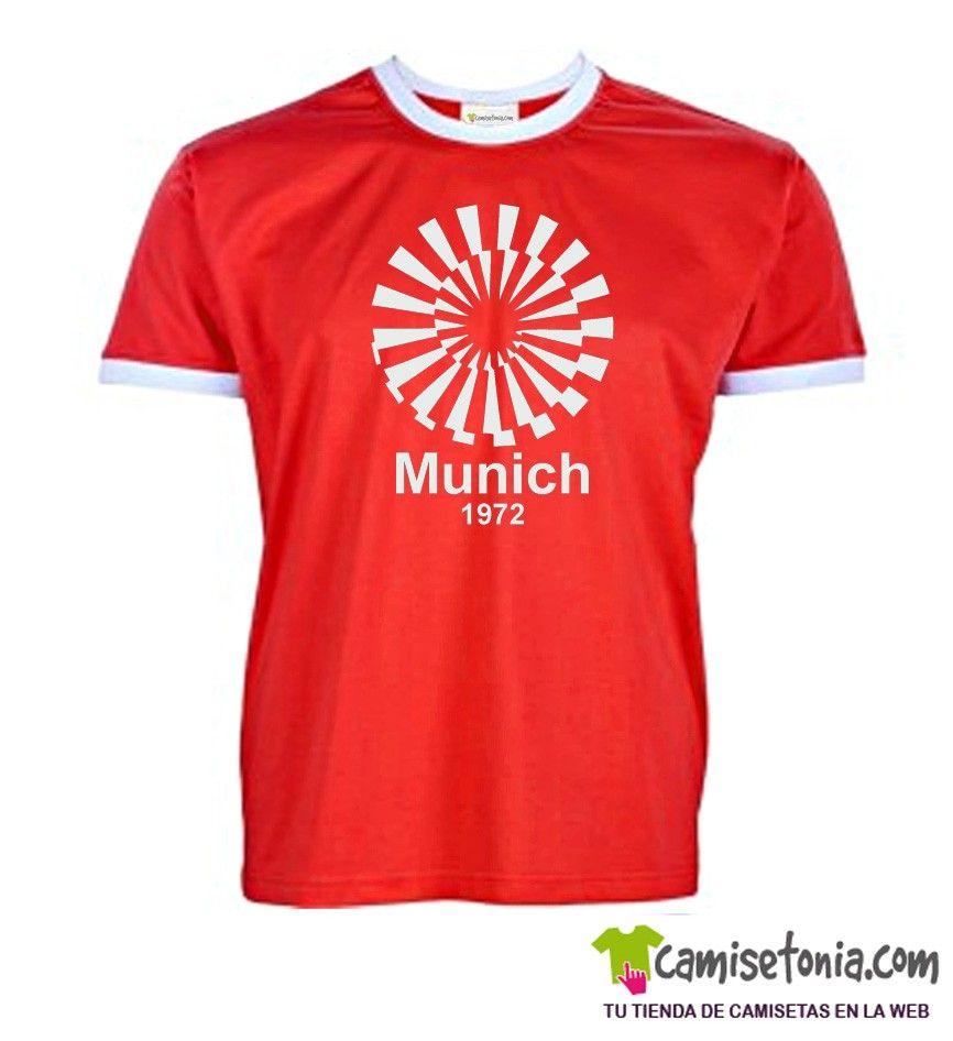 Camiseta Munich 1972 Roja Ribetes Blancos