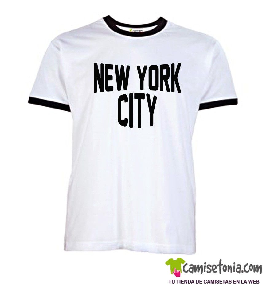 Camiseta New York City Jhon Lennon Blanca Ribetes Negros