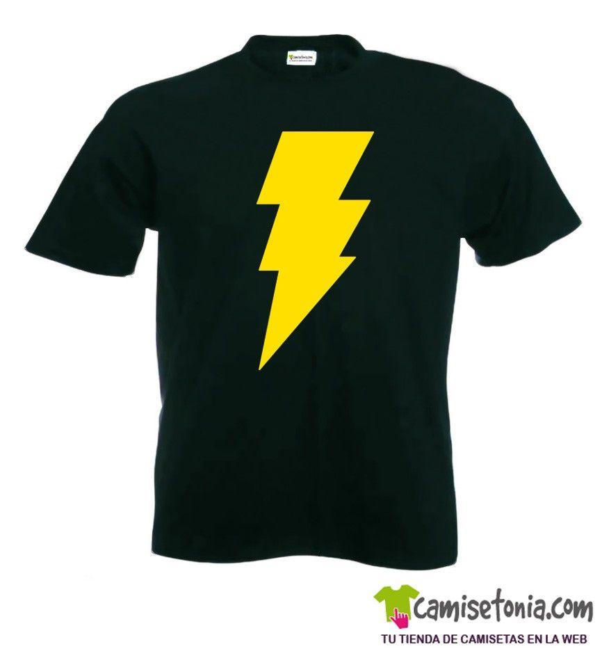 Camiseta Shazam Negra Hombre