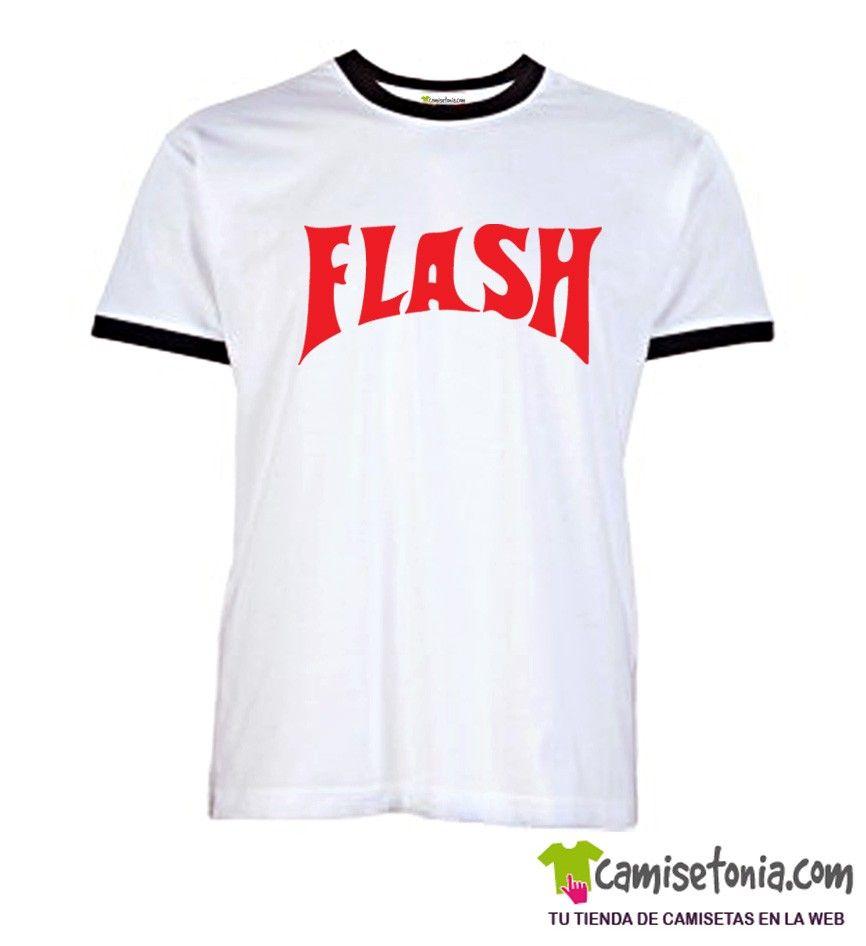 Camiseta Flash Gordon Retro Blanca Ribetes Negros
