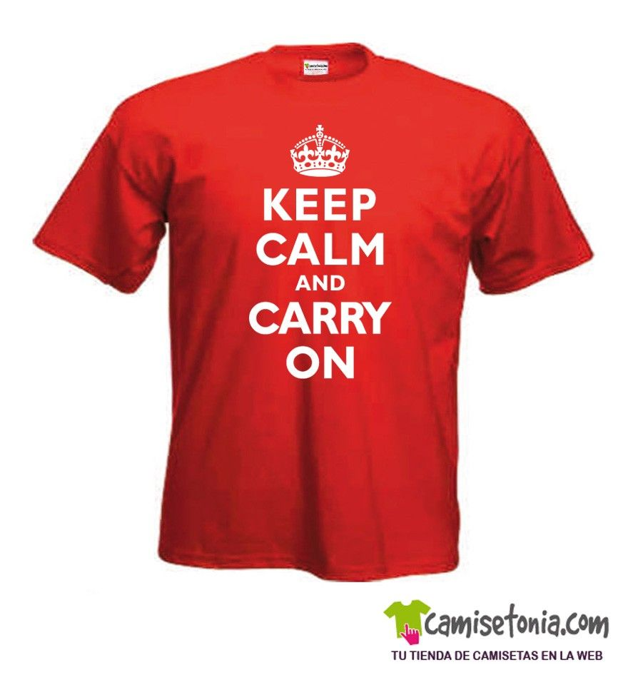 Camiseta Keep Calm and Carry On Roja Hombre