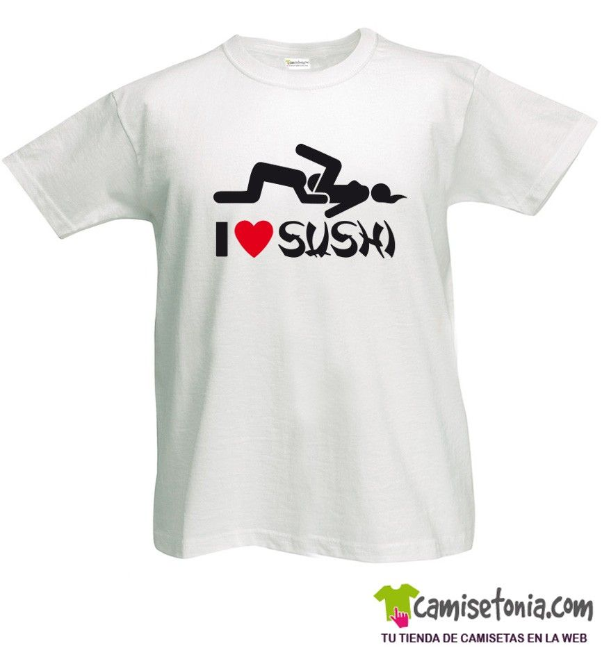 Camiseta I love Sushi Blanca Hombre