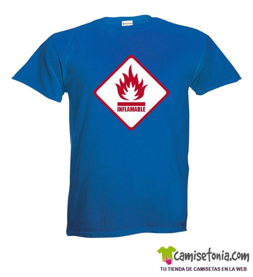 Camiseta Peligro Inflamable Azul Hombre
