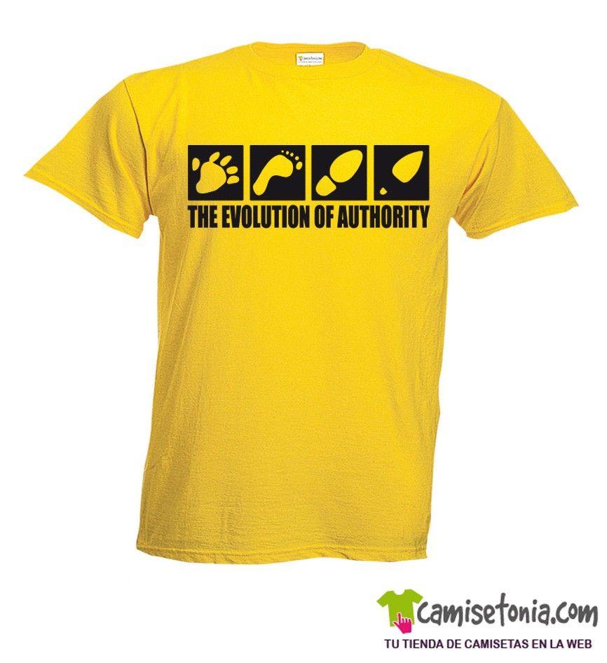 Camiseta Evolución de la Autoridad Amarilla Hombre