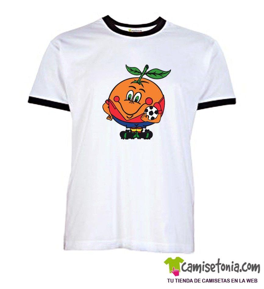 Camiseta Naranjito Retro Blanca Ribetes Negros