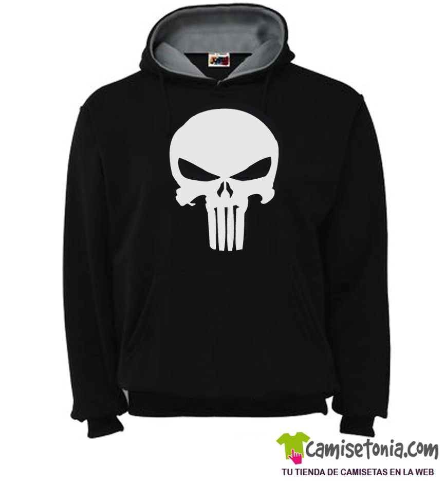 Sudadera The Punisher - El Castigador Negra / Cap. Gris