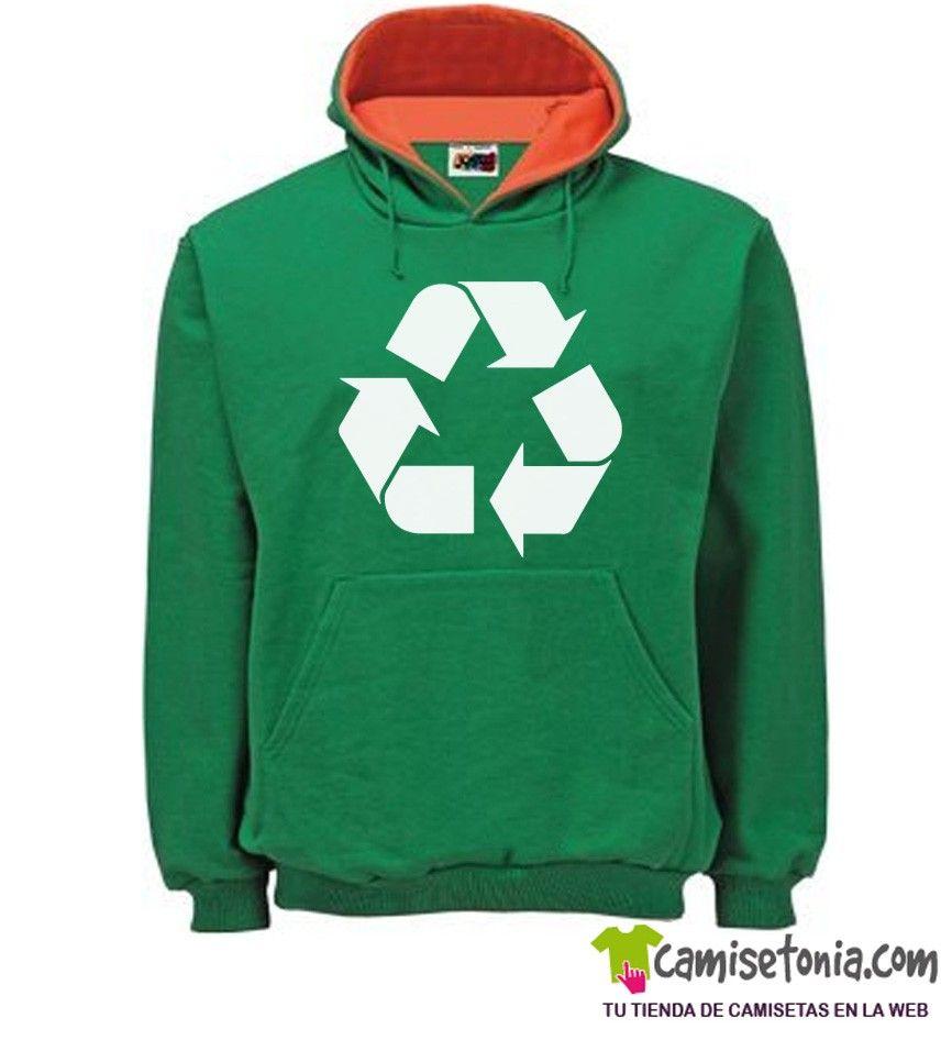 Sudadera Reciclaje Verde / Cap. Naranja