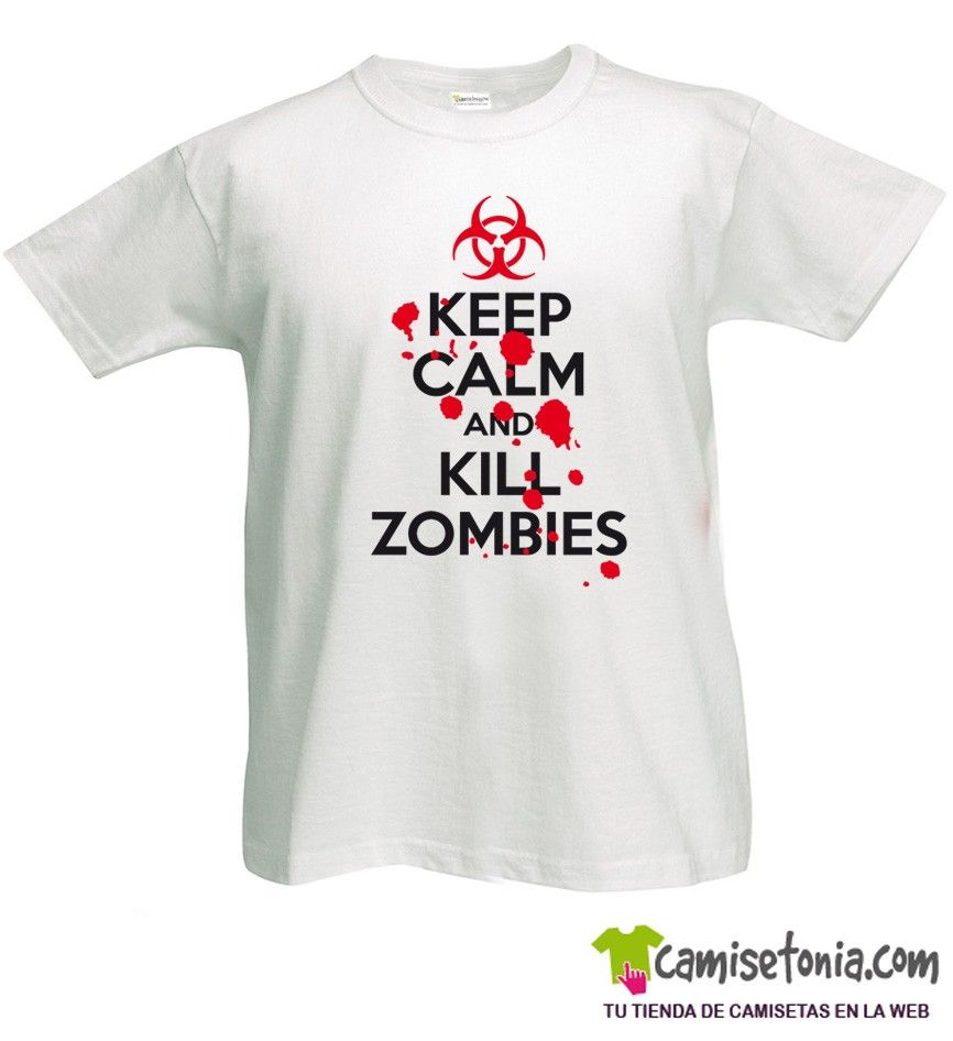 Camiseta Keep Calm and Relaxing Kill Zombies Blanca Hombre