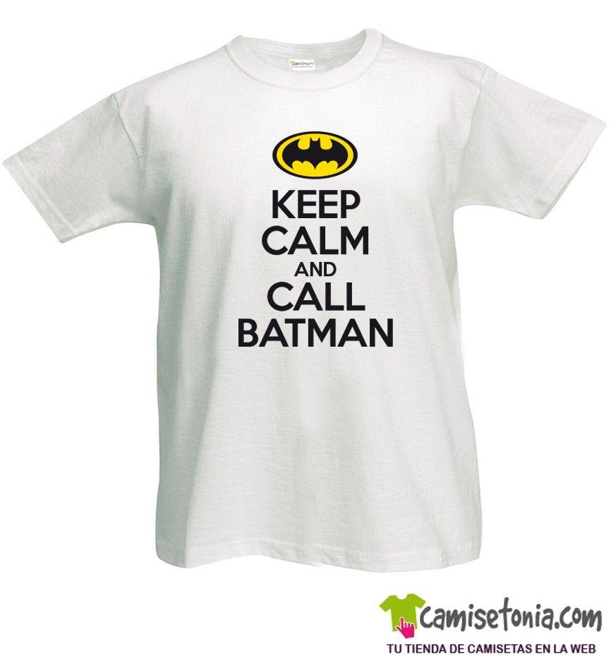 Camiseta Keep Calm and Call Batman Blanca Hombre