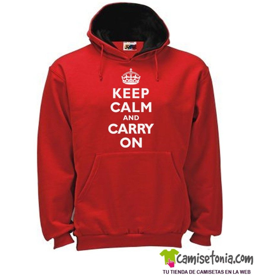 Sudadera Keep Calm and Carry On Roja / Cap. Negra