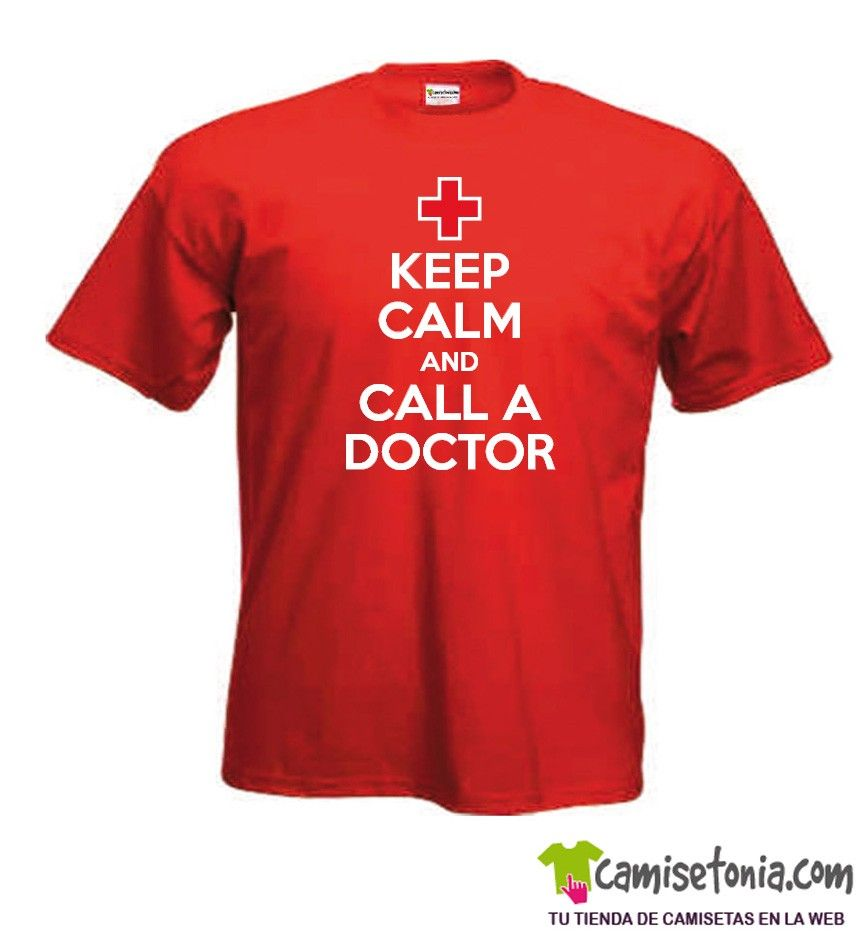 Camiseta Keep Calm and Call a Doctor Roja Hombre