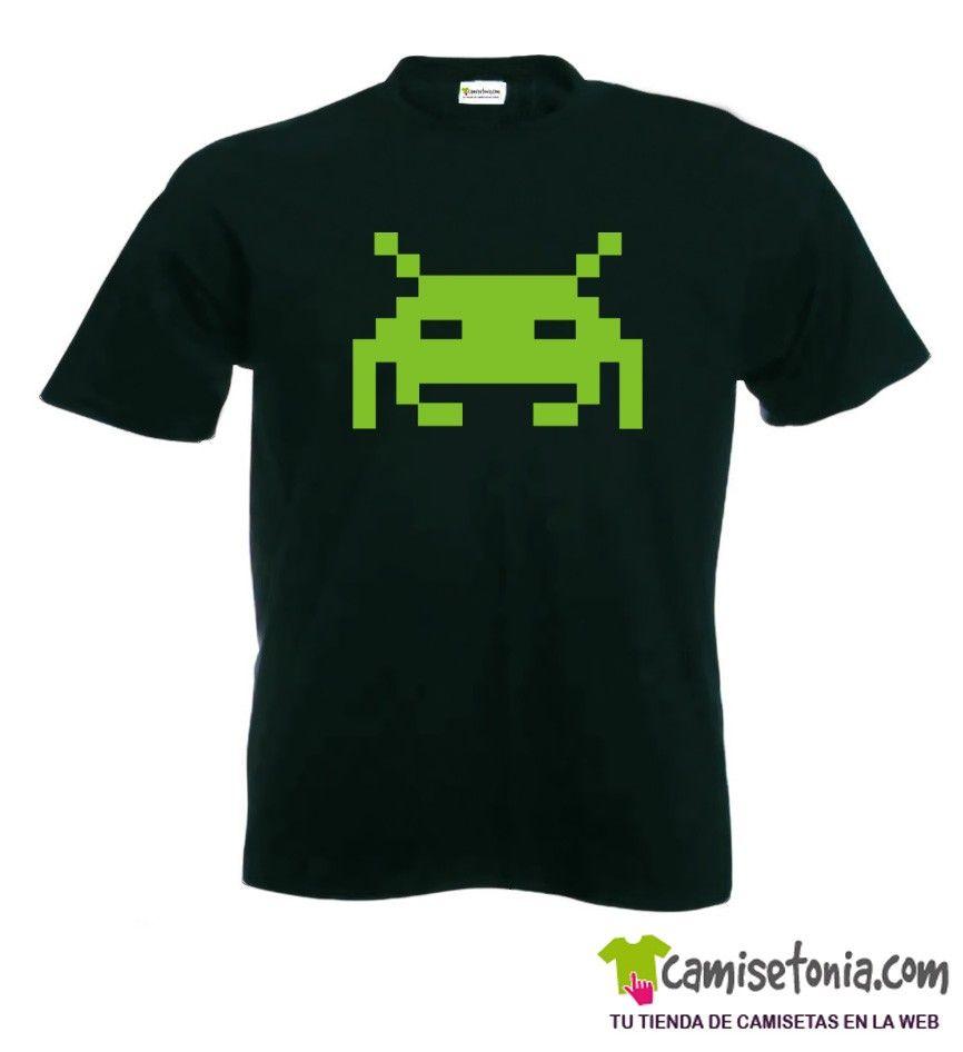 Camiseta Space Invader Negra Hombre