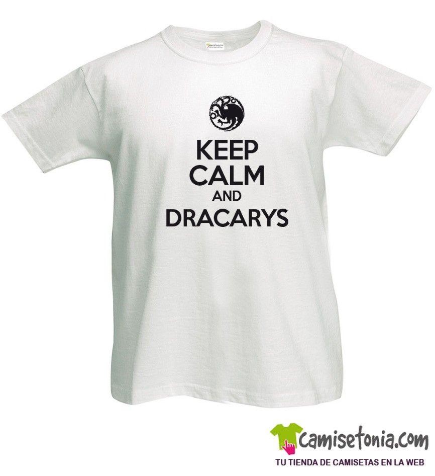 Camiseta Keep Calm and Dracarys Blanca Hombre