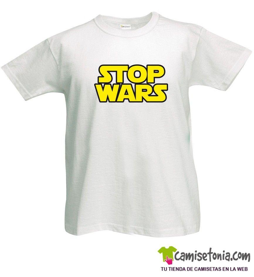 Camiseta Stop Wars Blanca Hombre