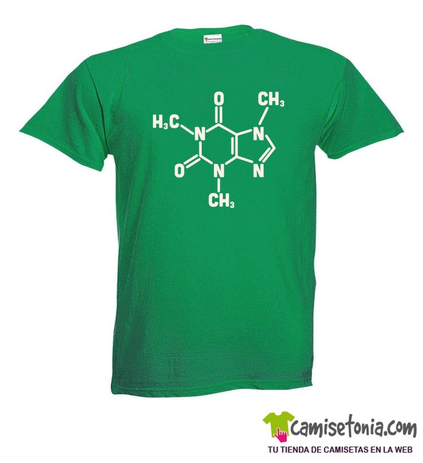 Camiseta Cafeina Big Bang Theory Theory Verde Hombre