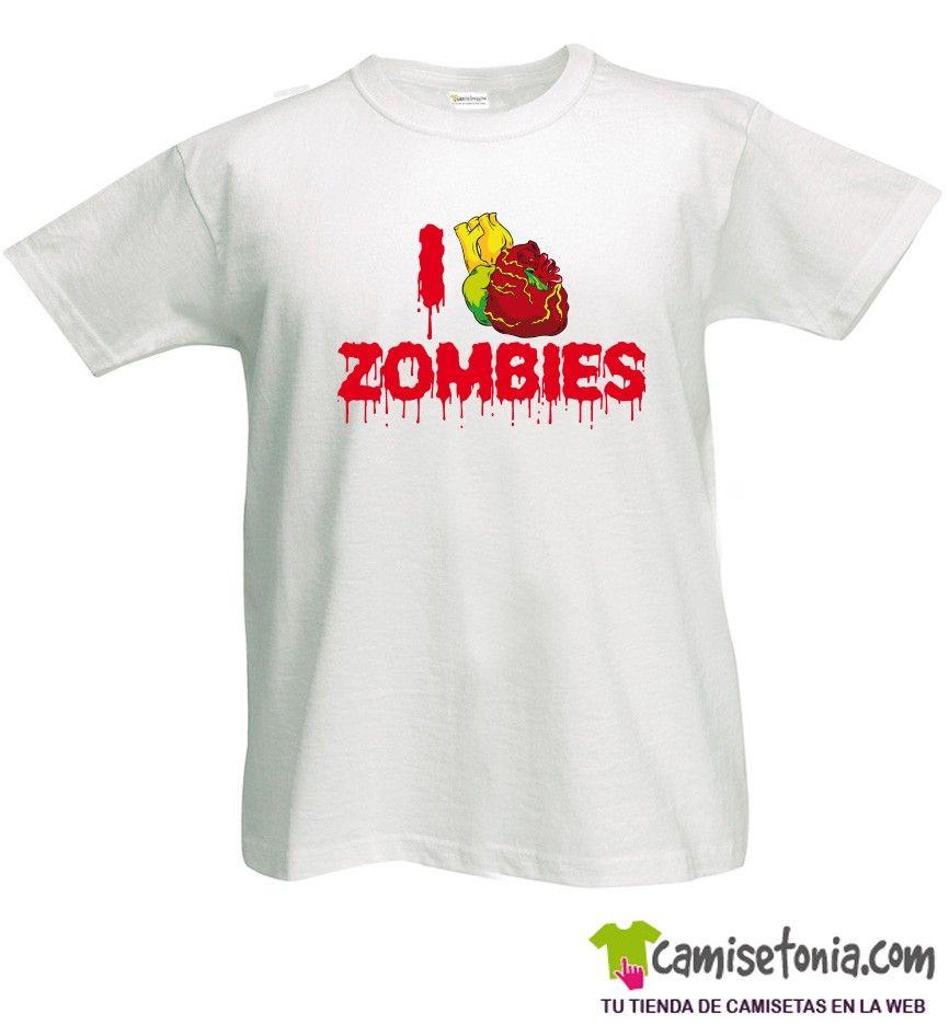 Camiseta I love Zombies Blanca Hombre