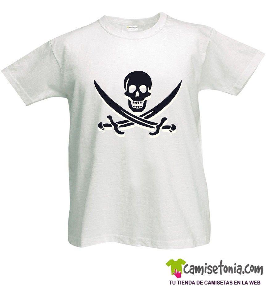 Camiseta Pirata Jack Rackham Blanca Hombre