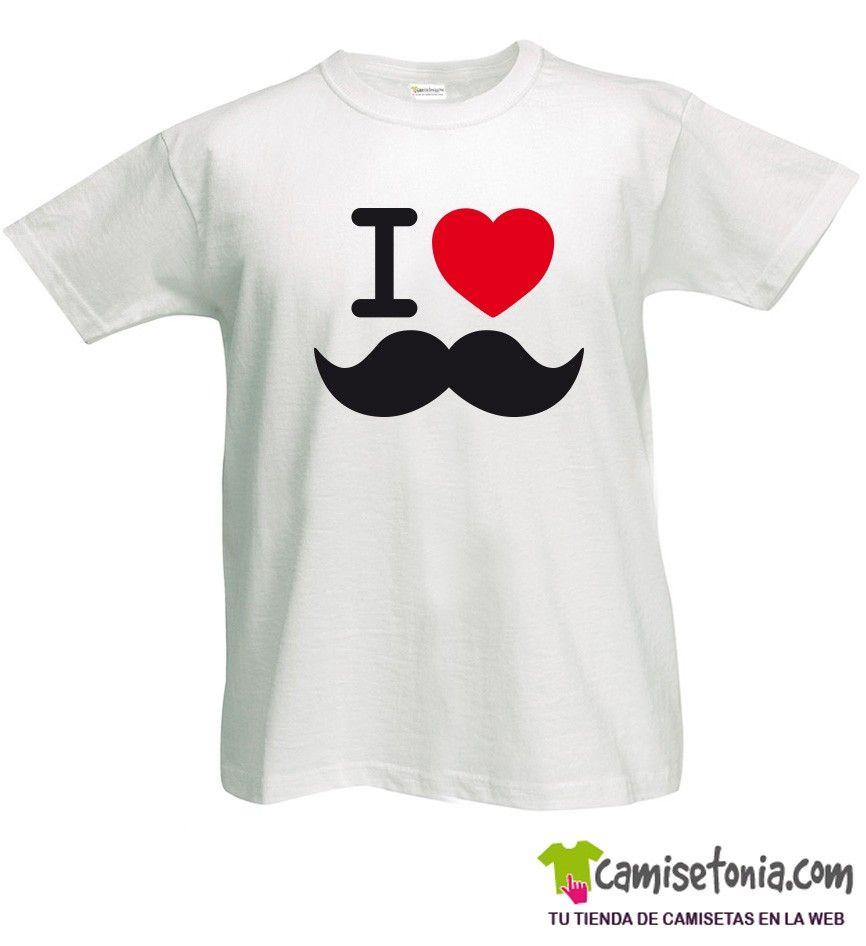 Camiseta I love Moustache Blanca Hombre