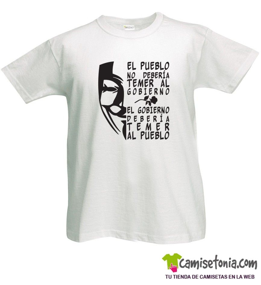 Camiseta Frase V de Vendetta Blanca Hombre