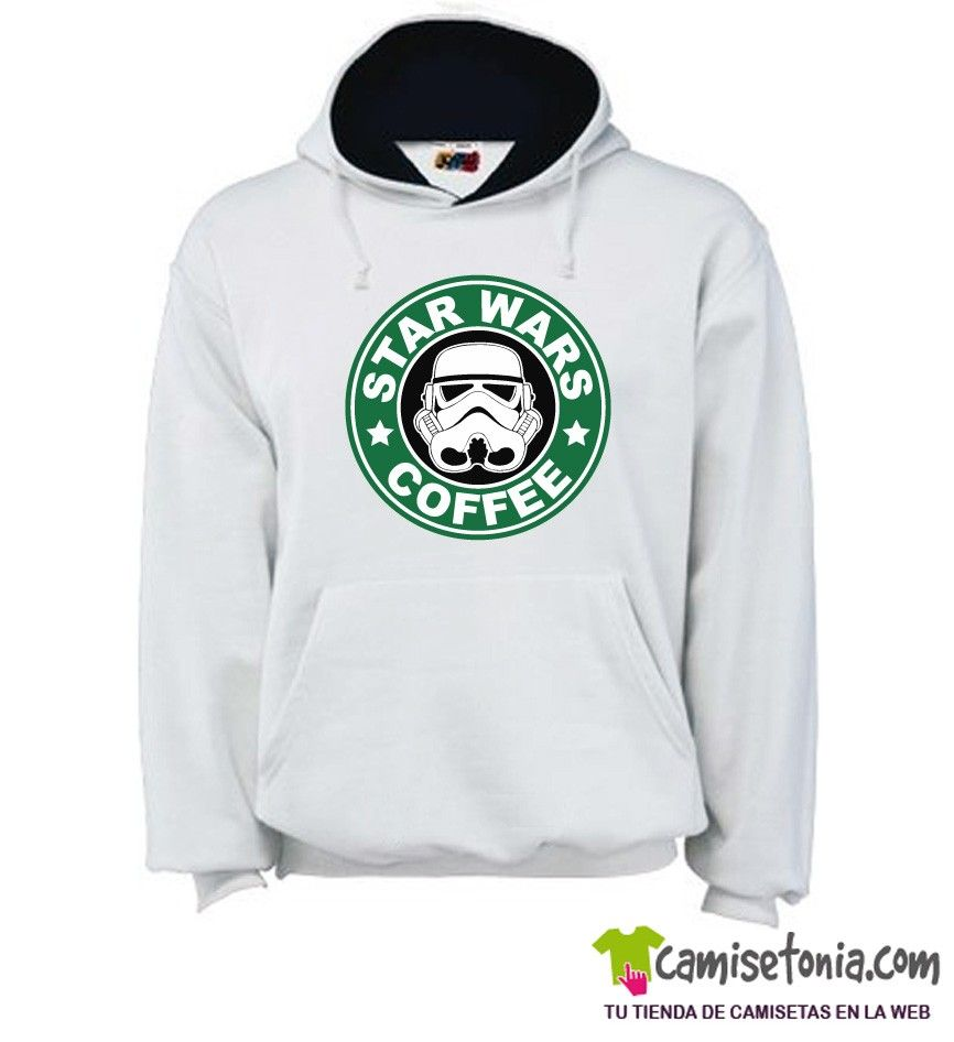 Sudadera Star Wars Coffee Blanca / Cap. Negra