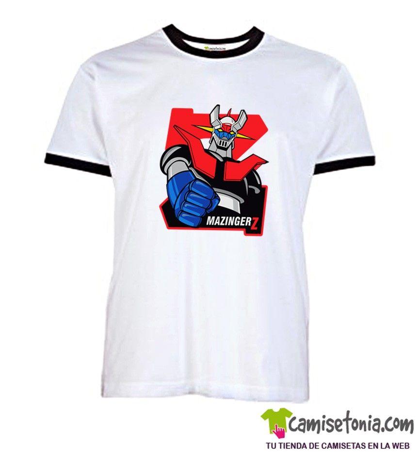 Camiseta Mazinger Retro Blanca Ribetes Negros