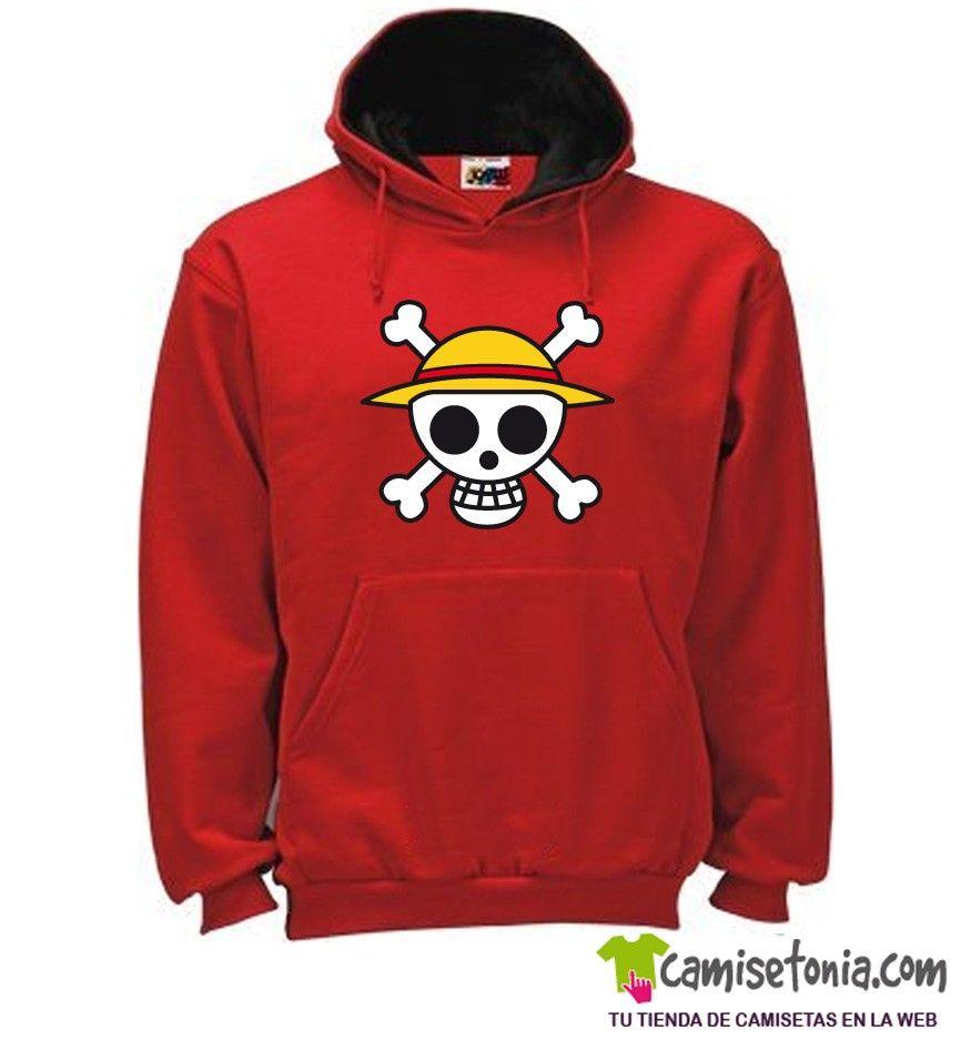 Sudadera Calavera Luffy One Piece Roja / Cap. Negra