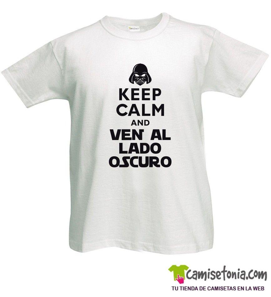 Camiseta Keep Calm and Ven al Lado Oscuro Blanca Hombre