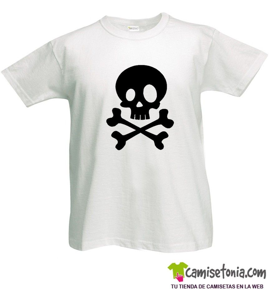 Camiseta Calavera Pirata Joven Blanca Hombre
