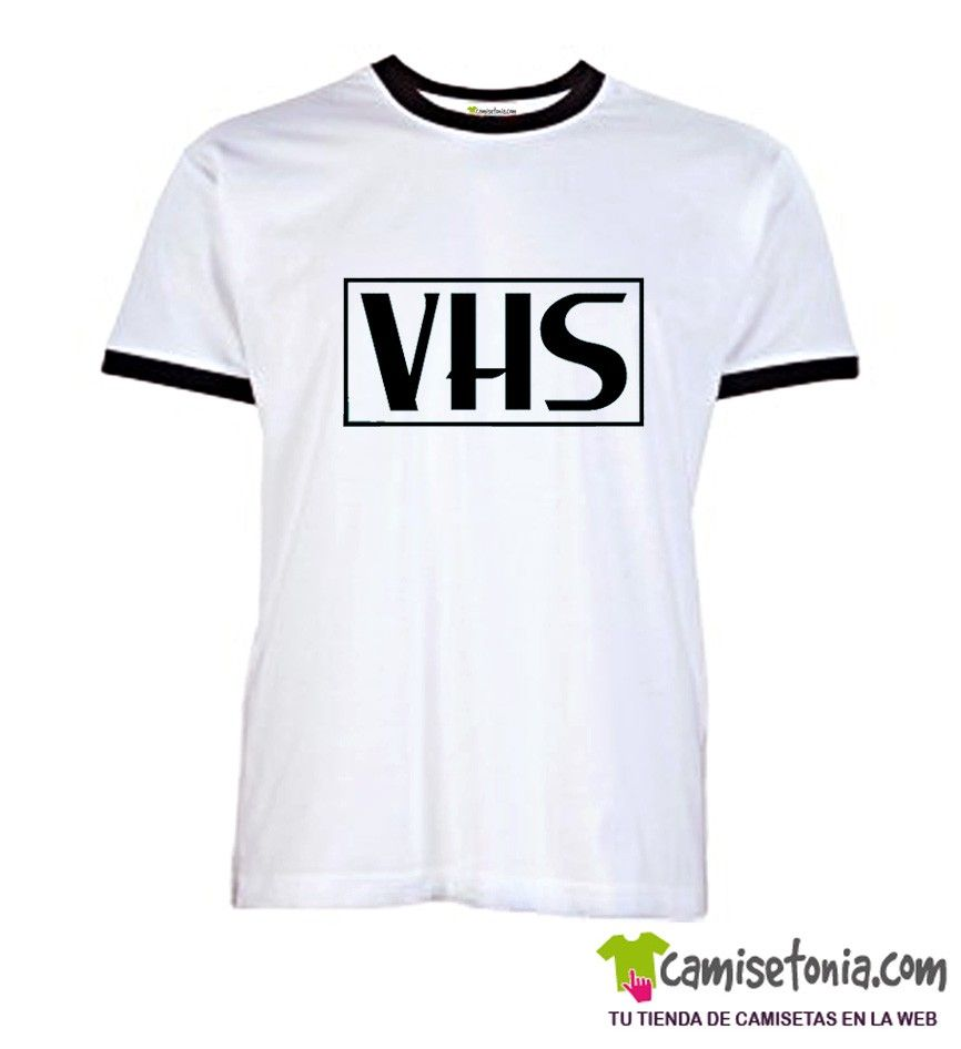 Camiseta Video VHS Blanca Ribetes Negros