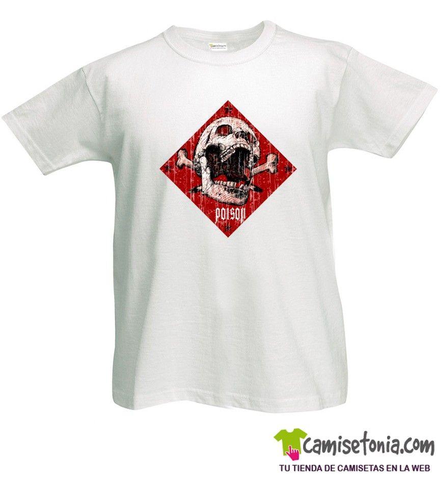 Camiseta Calavera Poison Blanca Hombre