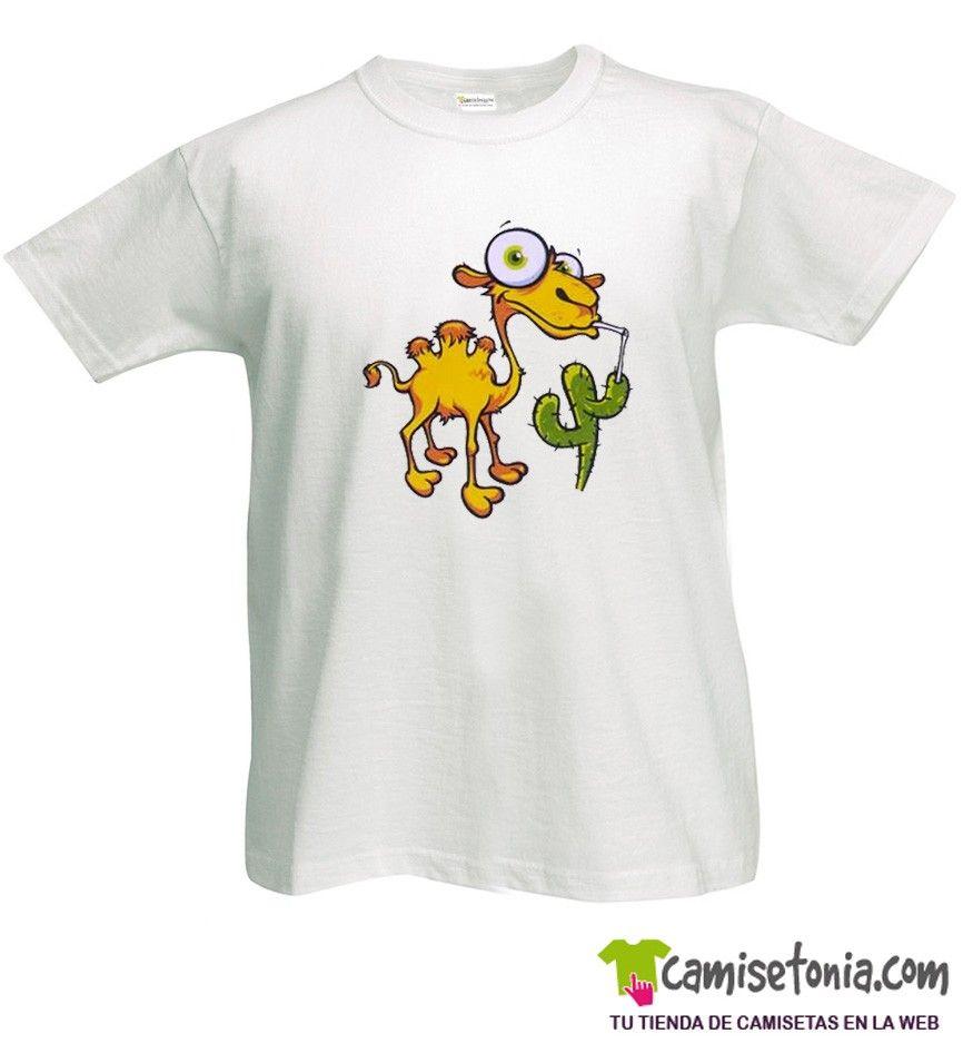 Camiseta Camello y Cactus Blanca Hombre