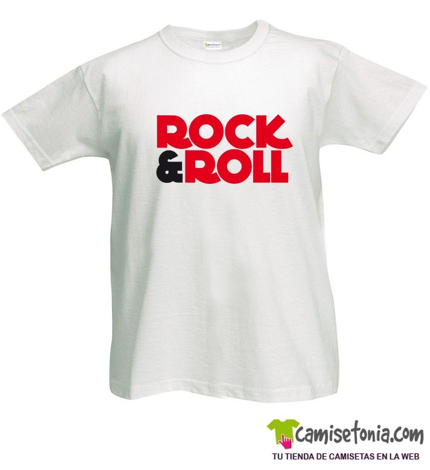 Camiseta Rock and Roll Blanca Hombre