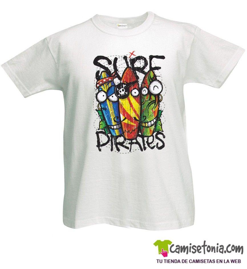 Camiseta Surf Pirates Blanca Hombre