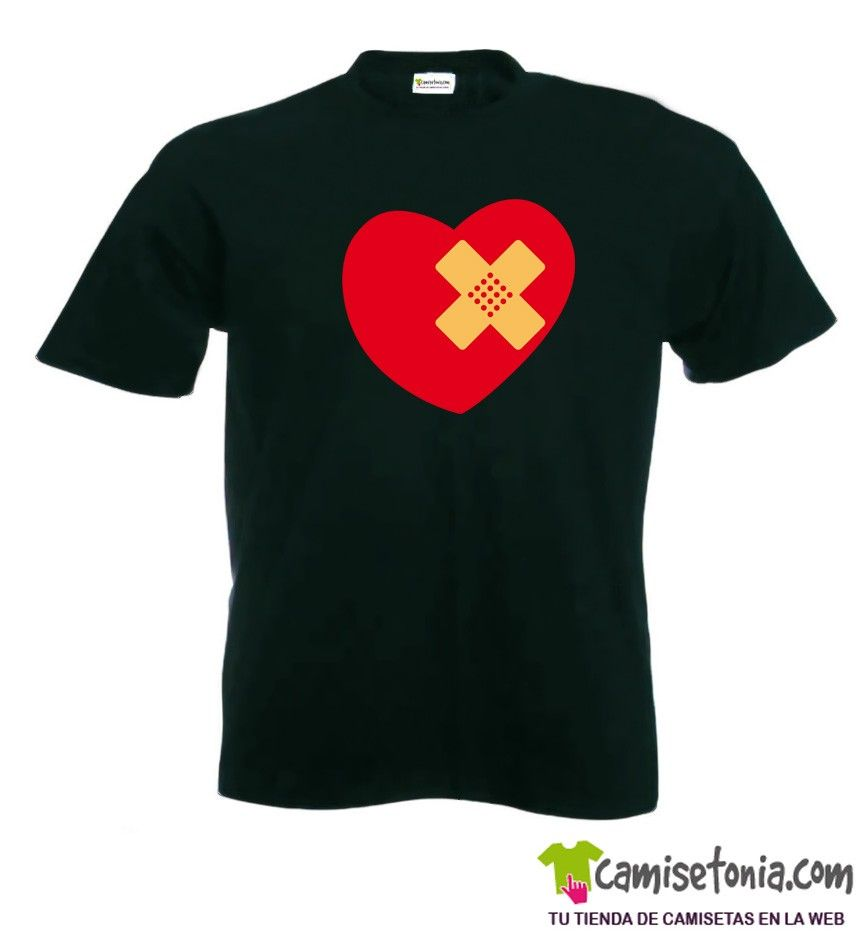 Camiseta Corazón Herido Negra Hombre