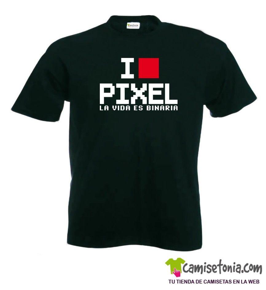 Camiseta I Love Pixel Negra Hombre