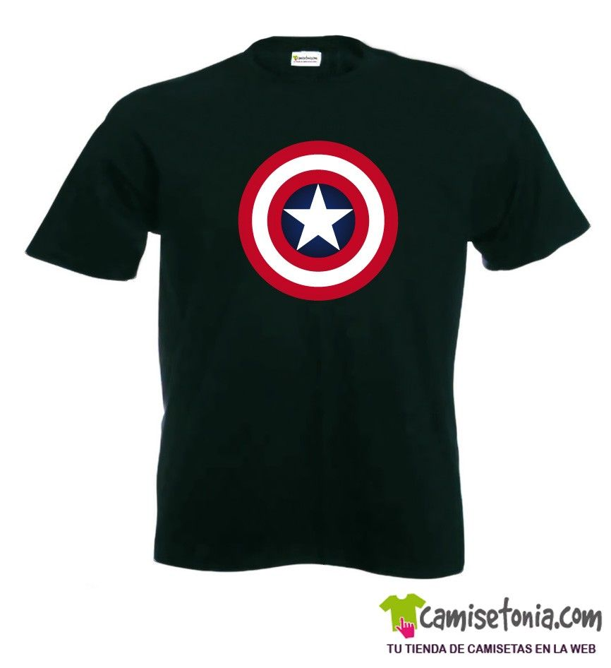 Camiseta Capitán América Negra Hombre